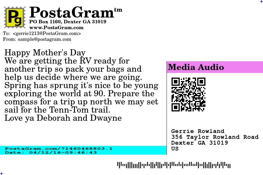 PostaGram.com Postcard Address Side